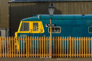 Class 35 Hymek D7107 at Williton Station on the West Somerset Railway